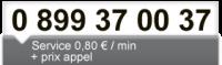 0899 37 00 37, 1,35€ TTC/appel et 0,34€ TTC/min
